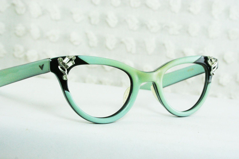 9d8bfcb03a9 50s Cat Eye Glasses 1960 s Rhinestone Eyeglasses Turquoise Black ...