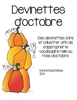 devinettes d 39 octobre french teaching resources fran ais halloween activities halloween. Black Bedroom Furniture Sets. Home Design Ideas