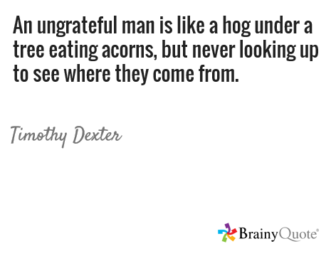 An Ungrateful Man Is Like A Hog Under A Tree Eating Acorns But Never Looking Up To See Where They Come From T Wisdom Quotes Social Engagement Eating Acorns