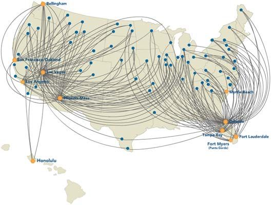 Allegiant Route Map Sgf Airlines Cheapest Airline