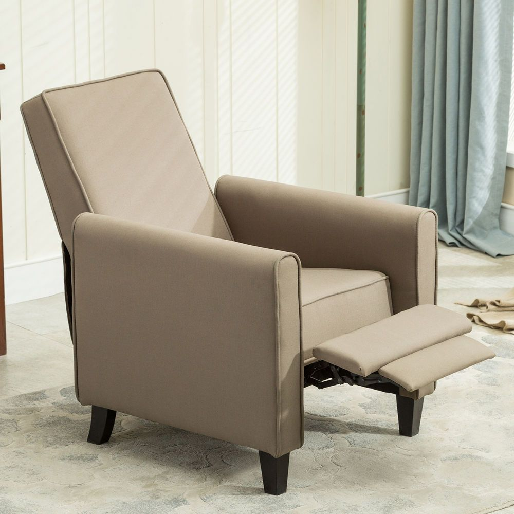 Captivating Contemporary Living Room Furniture Modern Design Fabric Recliner Club Chair  Gray