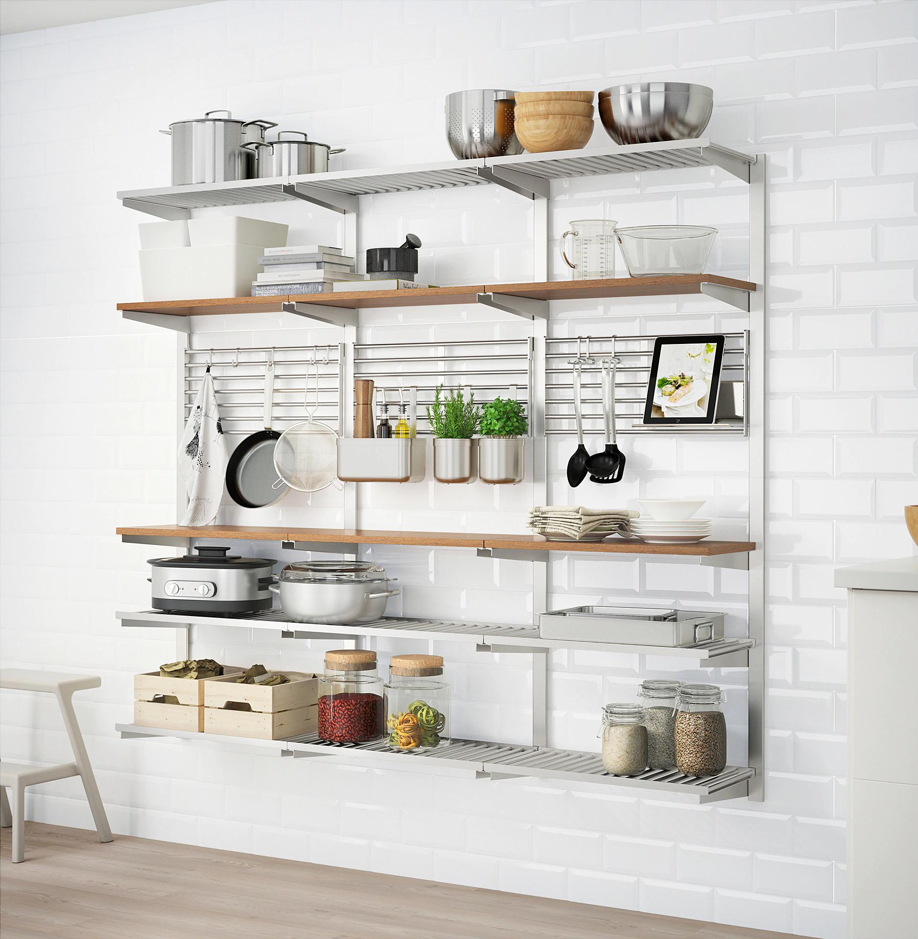 Open kitchen shelving Ikea  Kitchen wall storage, Kitchen wall