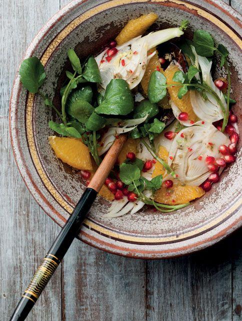 // Pomegranate, Fennel, Orange and Watercress Salad