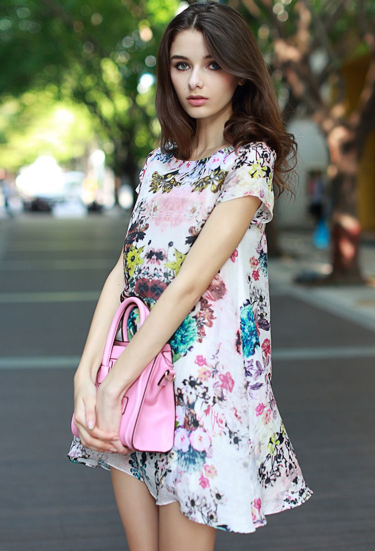 White Short Sleeve Floral Loose A Line Dress - Fashion Clothing, Latest Street Fashion At Abaday.com