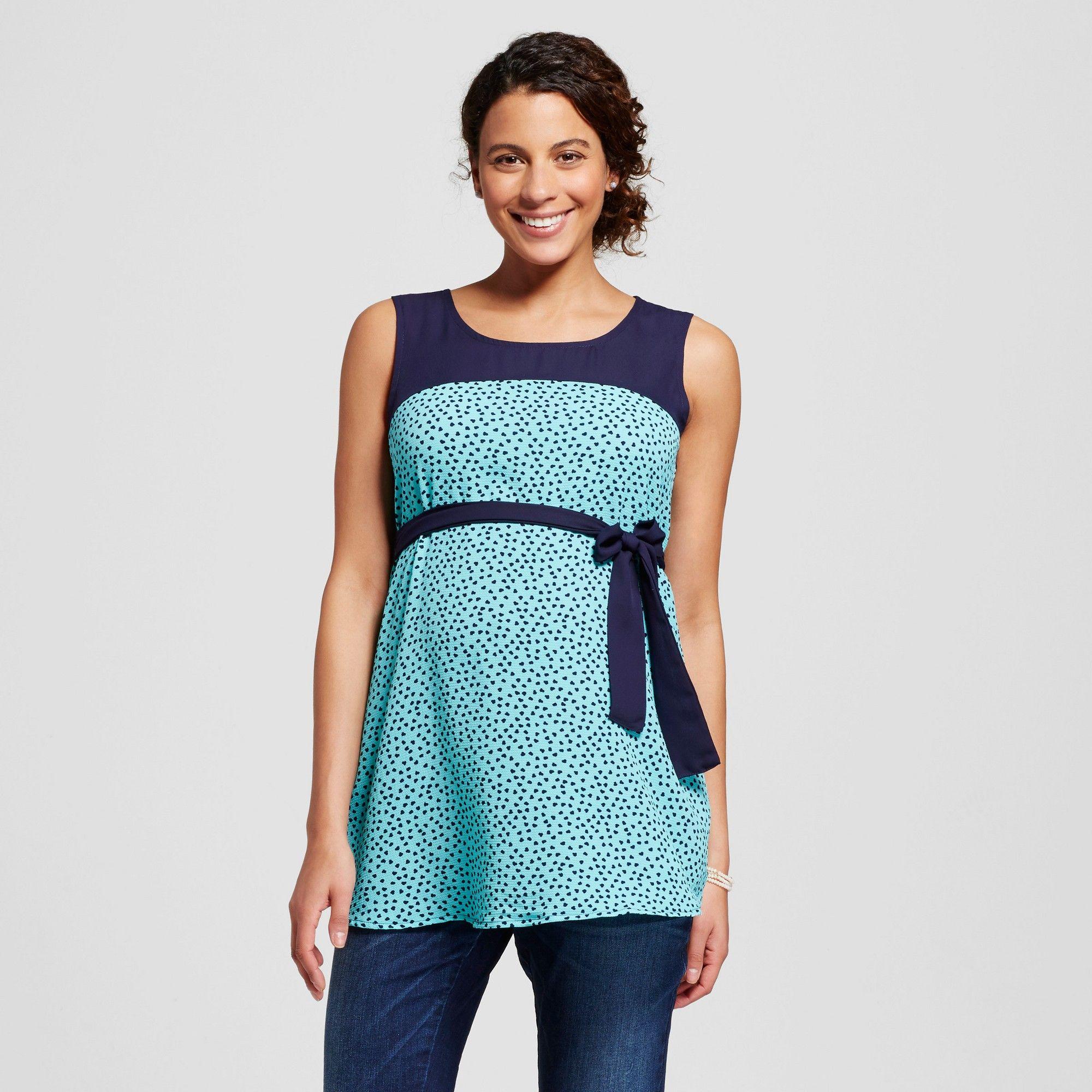 Maternity Polka Dot Print Belted Sleeveless Top Blue S - Ma Cherie ...