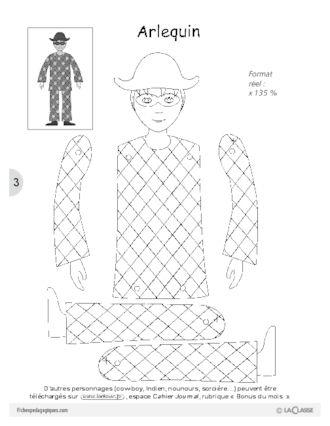 Coloriage Arlequin Ce1.Fabriquer Un Pantin Articule Pantin Articule Pantin Et