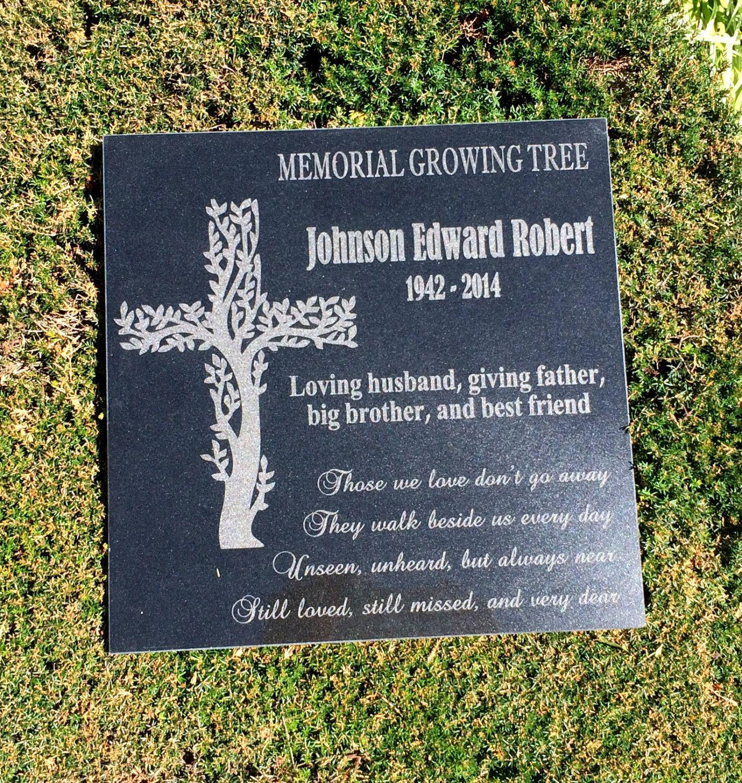 Memorial Cross Growing Tree Dementia Awareness Garden Etsy Granite Memorial Memorial Stones Stone Engraving