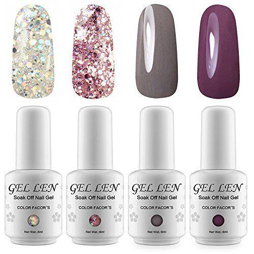 Cosmetics Uk Glitter Uv Led Gel Nail Polish Kit Set Gellen Soak Off