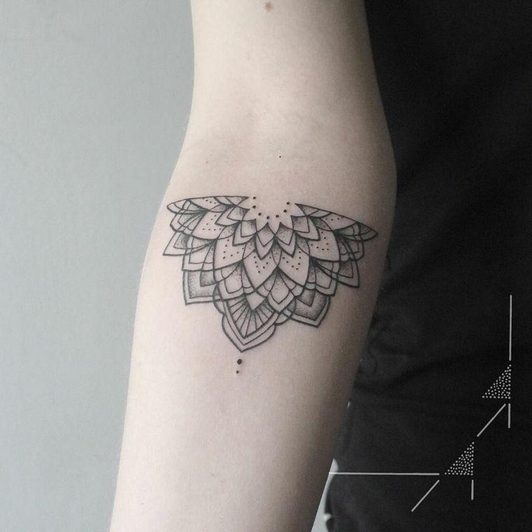 Tatuaggio Simbolo Forza Interiore Con Un Mandala Sul Braccio Con
