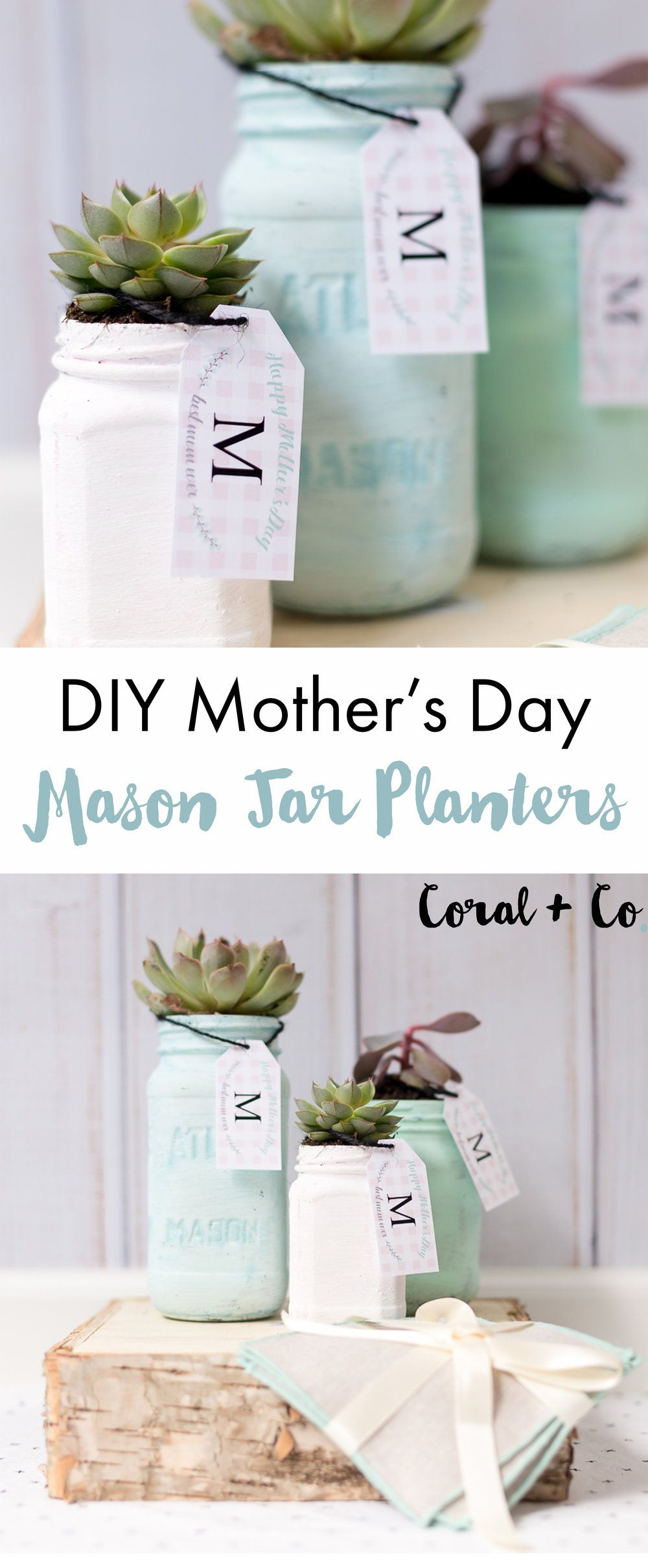 Diy mothers day mason jar planter and a free printable gift tag diy mothers day chalk paint mason jar planters with free printable gift tag coral negle Gallery
