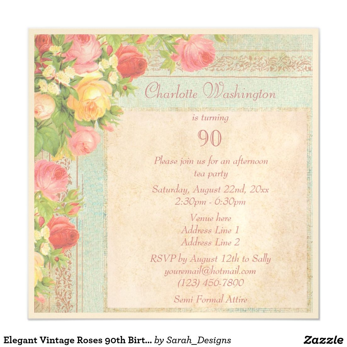 Elegant Vintage Roses 90th Birthday Party Magnetic Card 90th