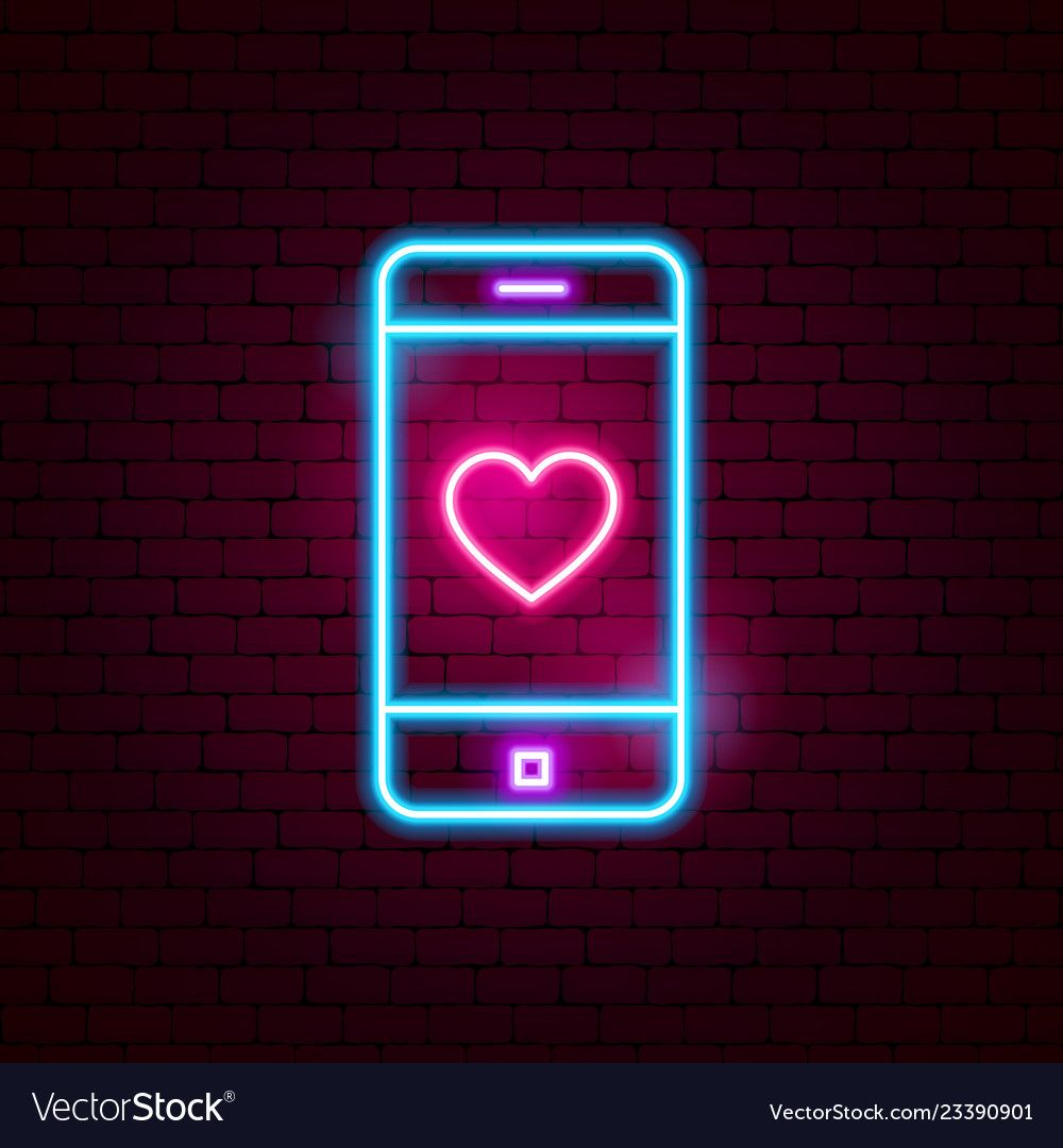 Love mobile neon sign vector image on in 2020 (With images