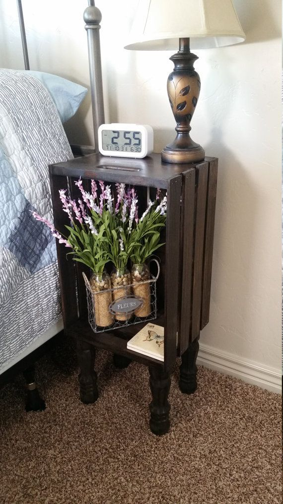 Stained Wood Crate, Bedside Table, Nightstand, End Table By Http://