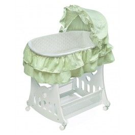Sage Gingham Portable Bassinet and Cradle With Toybox Base