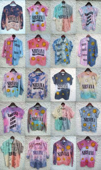 t-shirt grunge nirvana tie dye blouse shirt colorful smiley old school vintage hipster ombre bleach diy rad radical