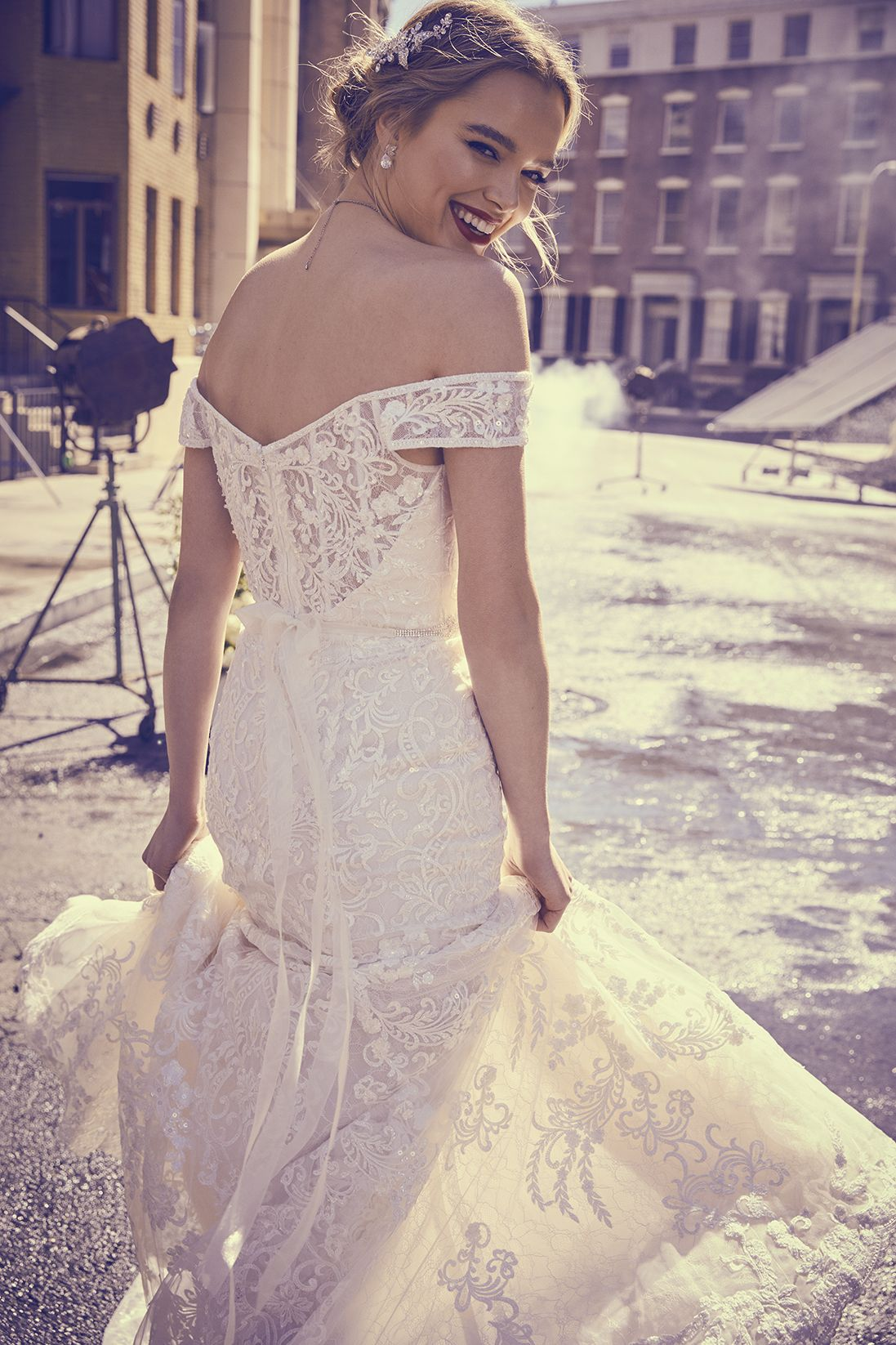 Beaded Lace Off The Shoulder Mermaid Wedding Dress Lace Weddings