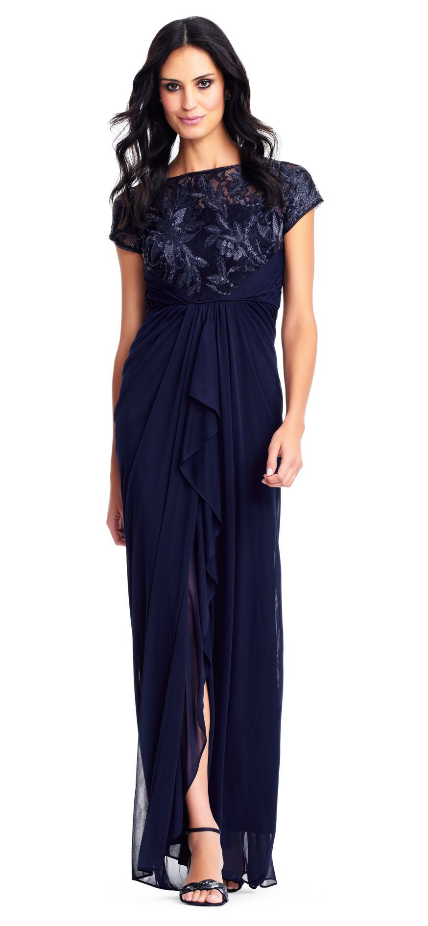 611ae17bae0 Short Sleeve Draped Gown with Floral Embroidered Bodice