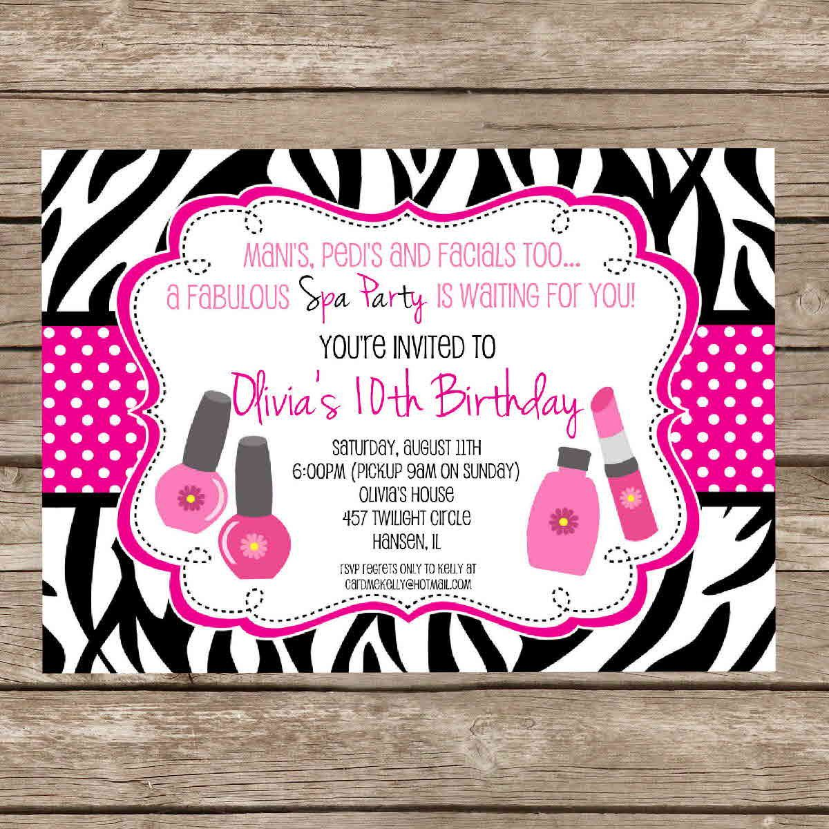 Printable Girlie Spa Zebra Print Birthday Slumber Party Sleepover ...