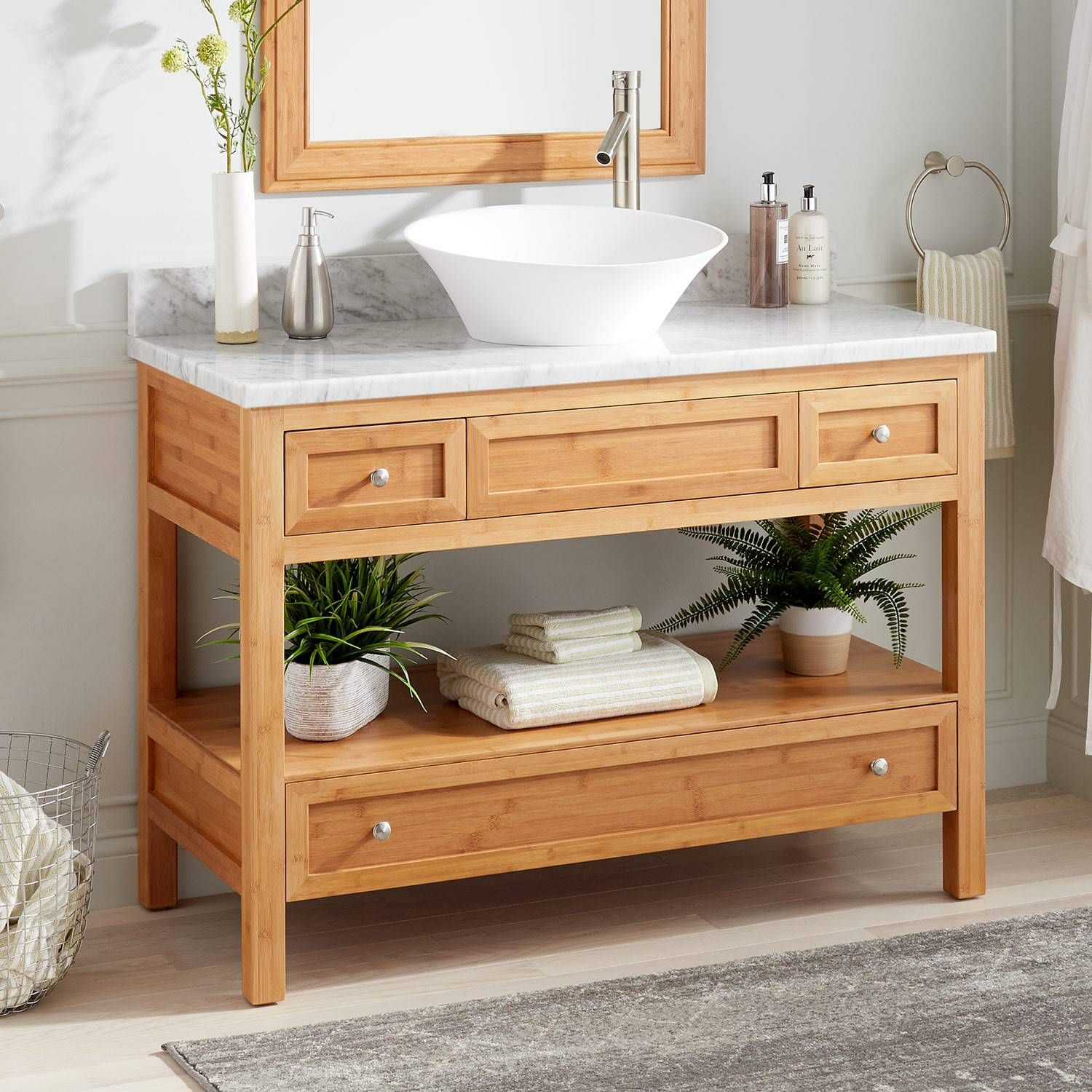 48 Miles Bamboo Vessel Sink Console Vanity Bathroom Vanities