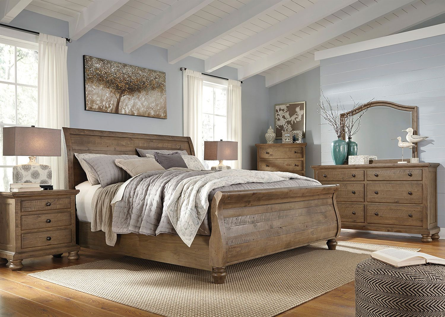 Bedroom Furniture Hayden King Sleigh Bed Weathered Grey Master Bedroom Set Brown Furniture Bedroom Discount Bedroom Furniture
