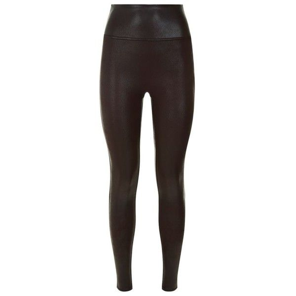 Leather look leggings brown