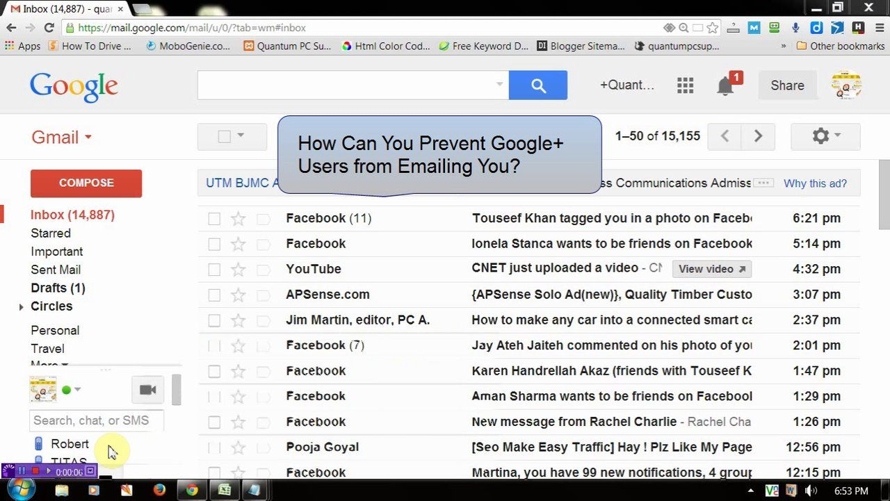 Block email sending from your google circle gmail