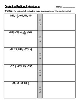 Ordering positive negative rational numbers decimals fractions this worksheet gives students 10 sets of positive and negative rational numbers to order rational ibookread ePUb