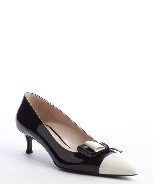 Miu Miu Black And White Patent Leather Bow Detail Kitten Heel Pumps Style 328459901 Kitten Heels Heels Kitten Heel Pumps