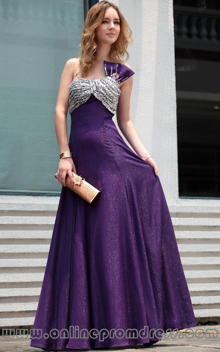 A line one shoulder beading purple prom dresses fast shippingg