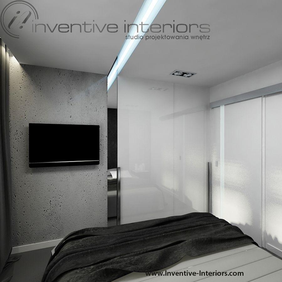 Projekt Sypialni Inventive Interiors Biało Szara Męska