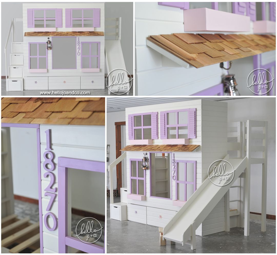 Playhouse Bed with stairs & slide. So versatile! This twin