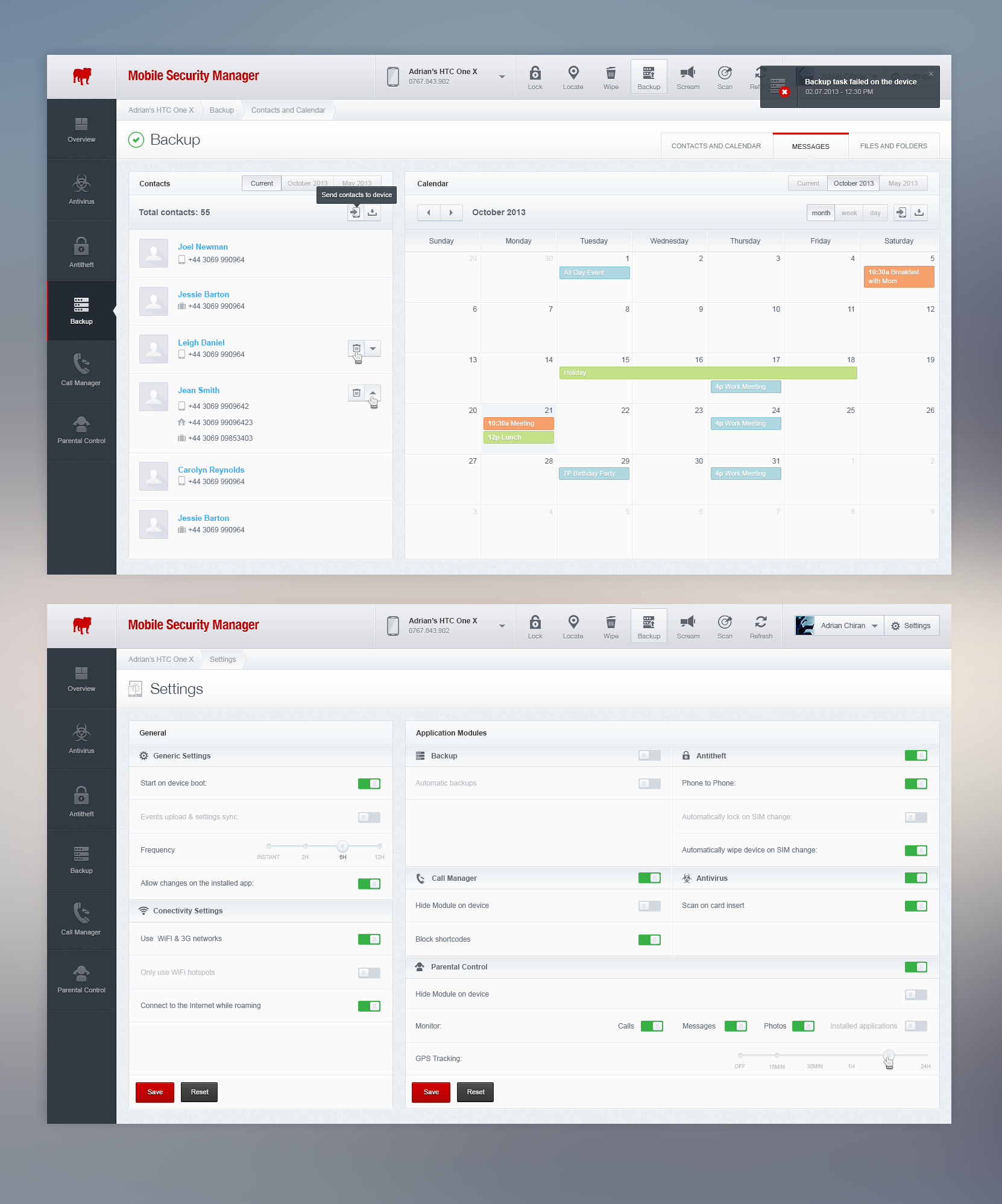 Mobile Security Manager Analytics Dashboards Dashboard