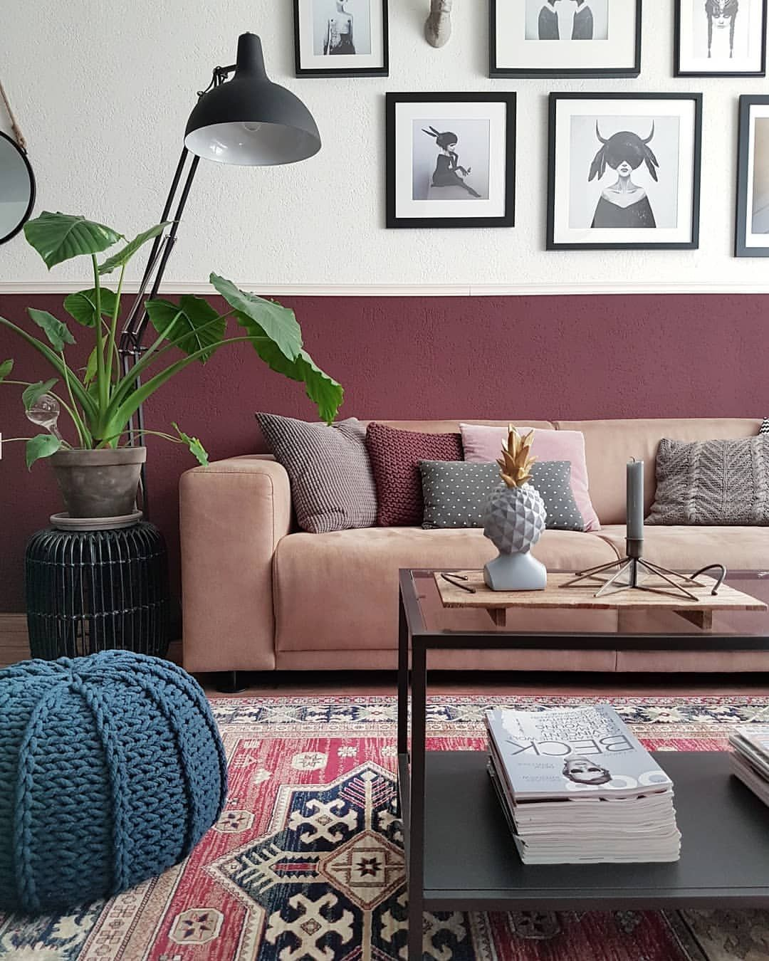 Two Tone Wall With Pink Sofa Colourful Rug And Gallery Wall In The Living Room Pink Sofa Living Room Pink Rug Living Room Pink Couch Living Room