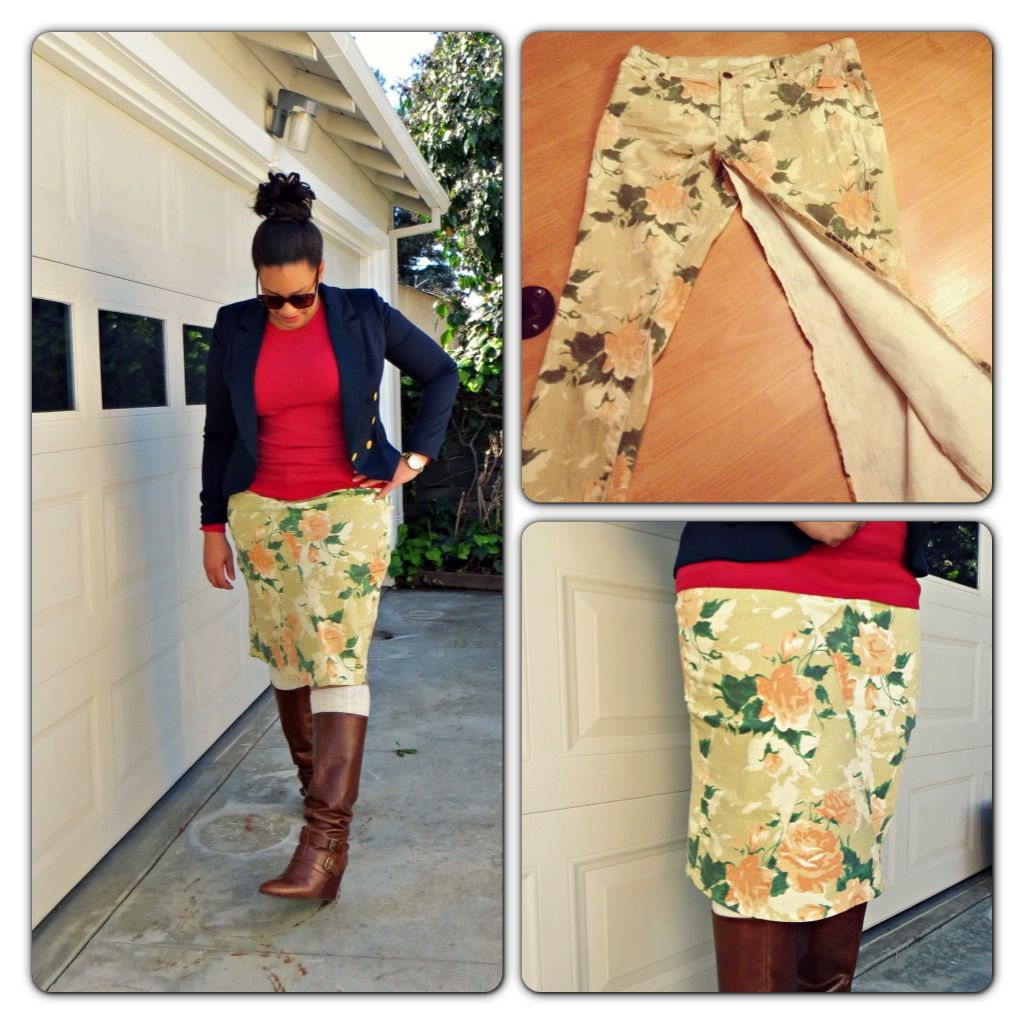 Target pants into a knee length pencil skirt. YES PLEASE! They have so many pairs of cute pants!