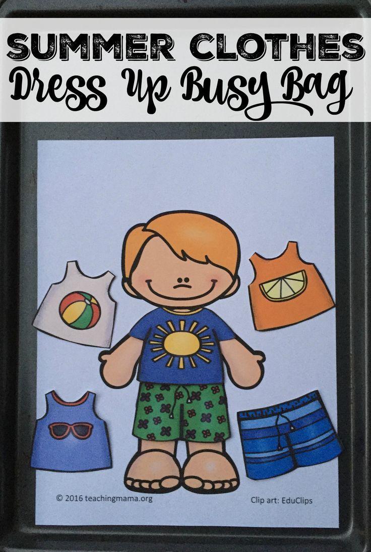 Summer Clothes Dress Up Busy Bag Busy Bags Preschool Activities Preschool Fun [ 1097 x 736 Pixel ]