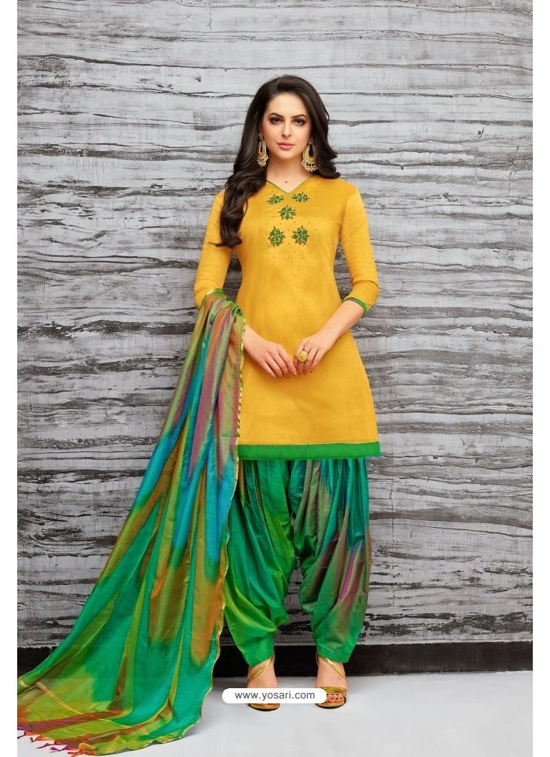 0930658c4c Yellow And Green Silk Embroidered Patiala Salwar Suit in 2019 ...