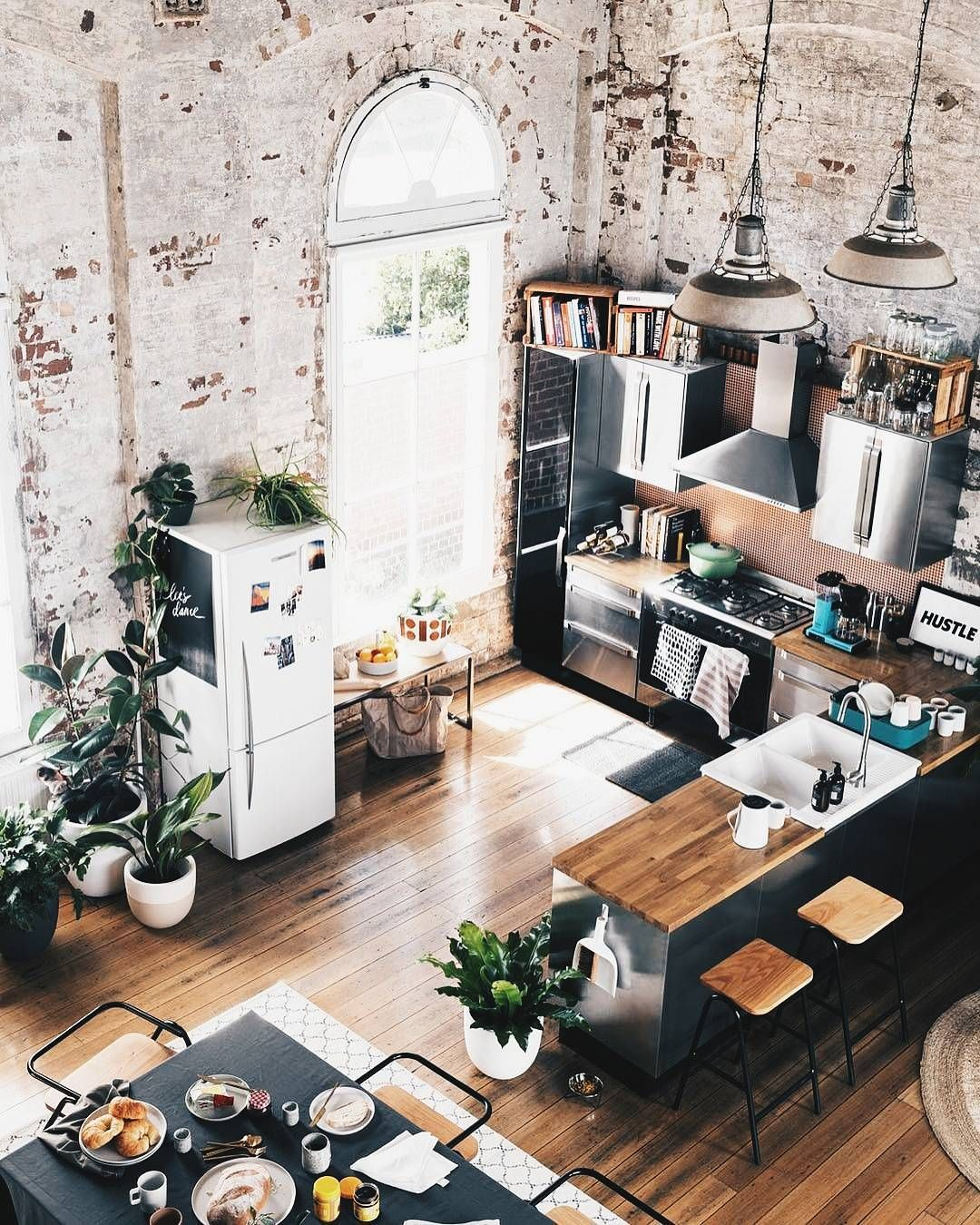 Spectacular Small Attic Apartment | Industrial living, Butcher ...