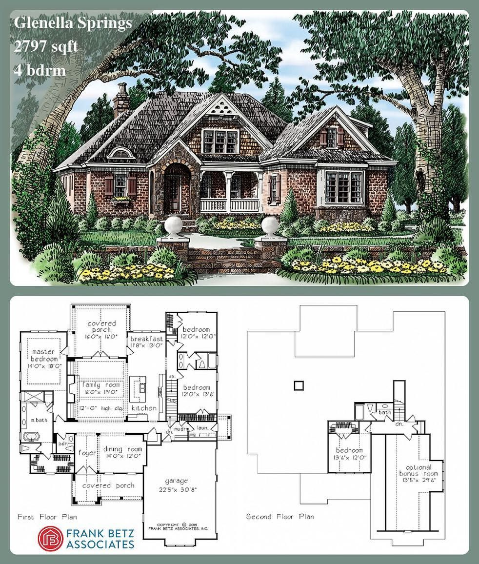 New Plan Thursday The Glenella Springs Is A 2797 Sqft 4 Bdrm English Cottage House Plan Design By Fran Cottage House Plans House Plans One Story House Plans