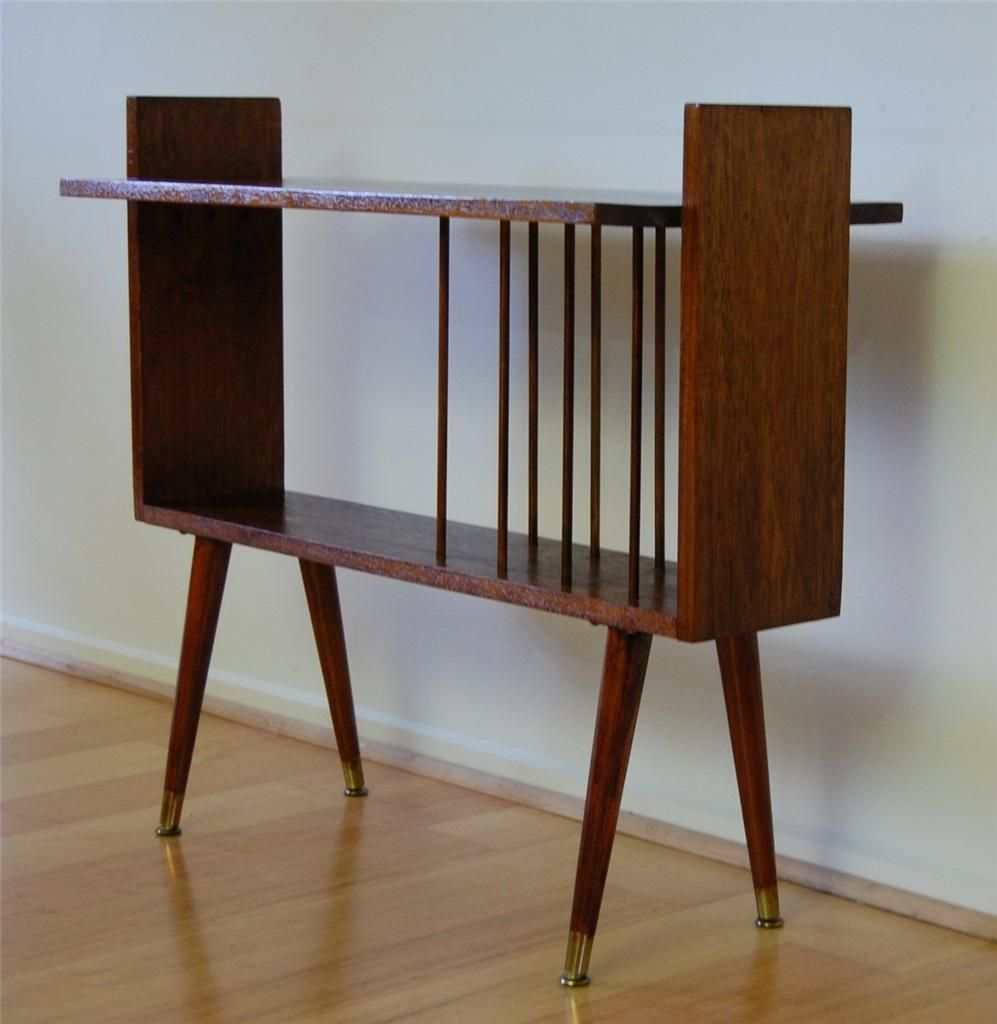 retro mid century danish modern solid maple turntable amp lp record shelf - Record Shelf