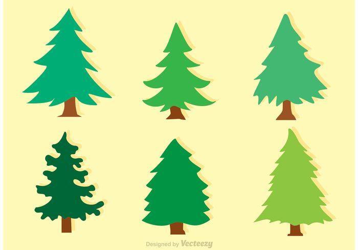 Flat Cedar Trees Vectors Download Free Vector Art Stock Cedar Trees Pine Tree Silhouette Tree Illustration