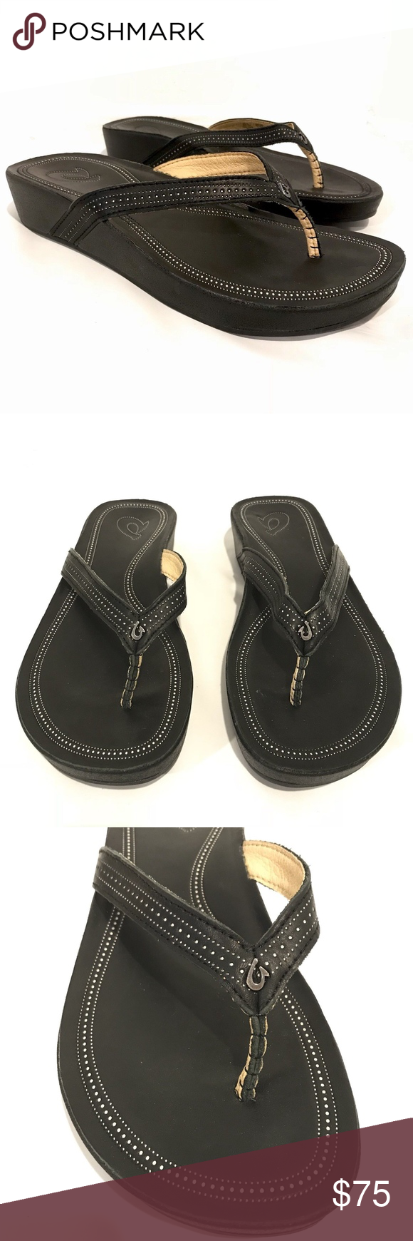 d4f0feb7f9cfe0 Olukai OLA Black Leather Wedge Flip Flop Sandals OluKai OLA flip flop  sandals. Black color