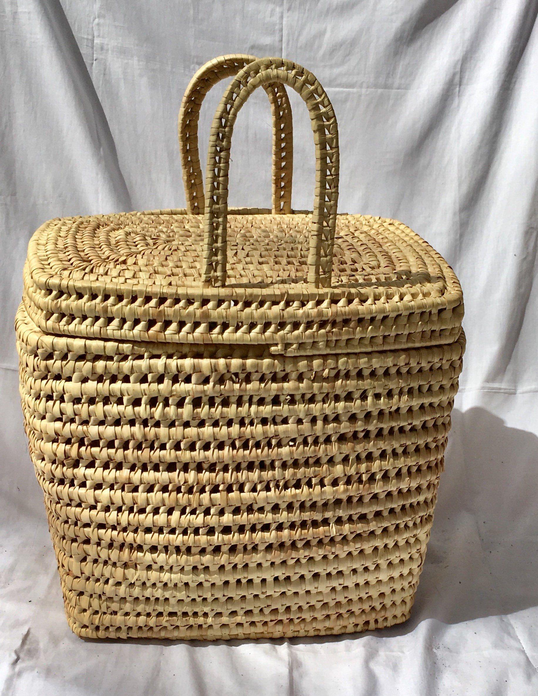 Vintage picnic basket Woven Wicker home basket decorative basket storage basket shopping bag, market bag