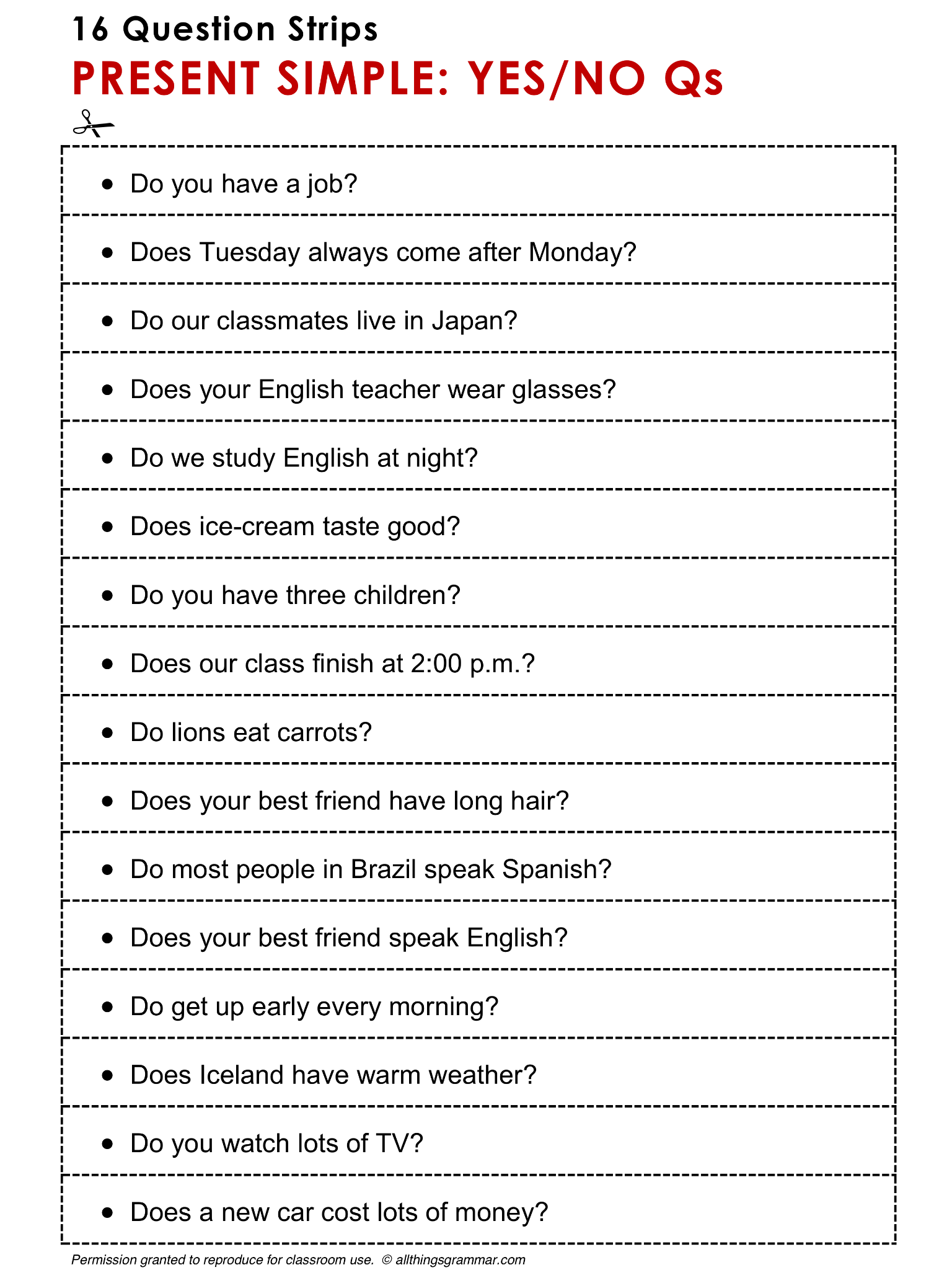 English Grammar Discussion Practice Yes No Questions