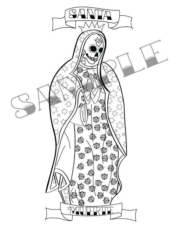 Santa Muerte Para Imprimir Para Colorear Por Mermaidswhispers