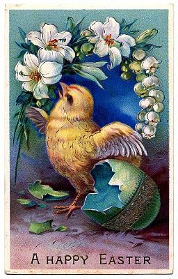 vintage easter clip art - sweet baby chick with egg by graphics fairy
