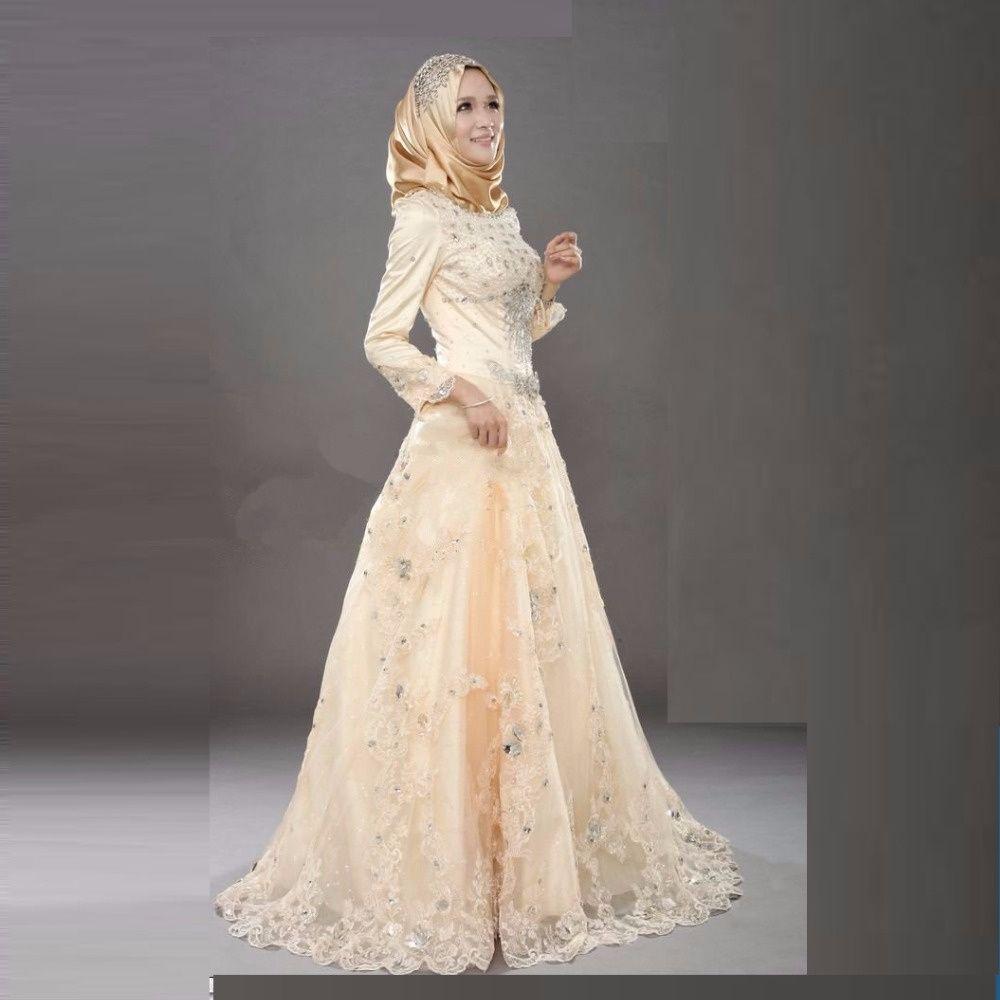 Aliexpress : Buy Elegant Muslim Evening Dresses With Veil Long ...