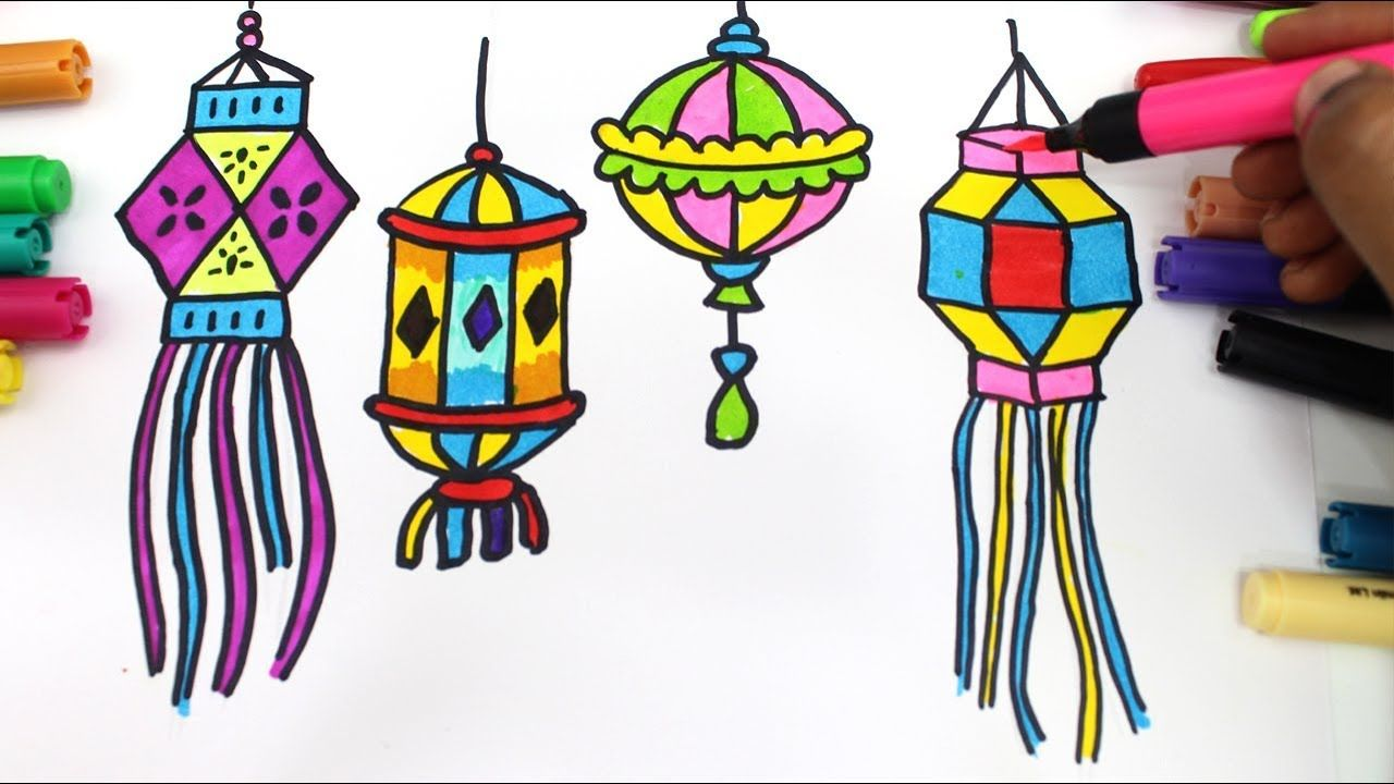 How To Draw Colourful Diya And Lantern For Diwali Wishes Step By Step Ve Diwali Drawing Diwali Wishes Drawing For Kids