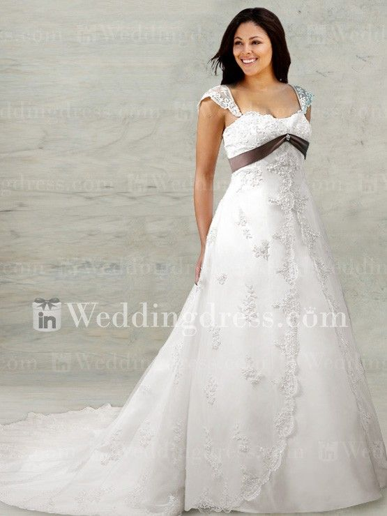 Elegant Plus Size Bridal Gown With Waist Band Ps152 Wedding