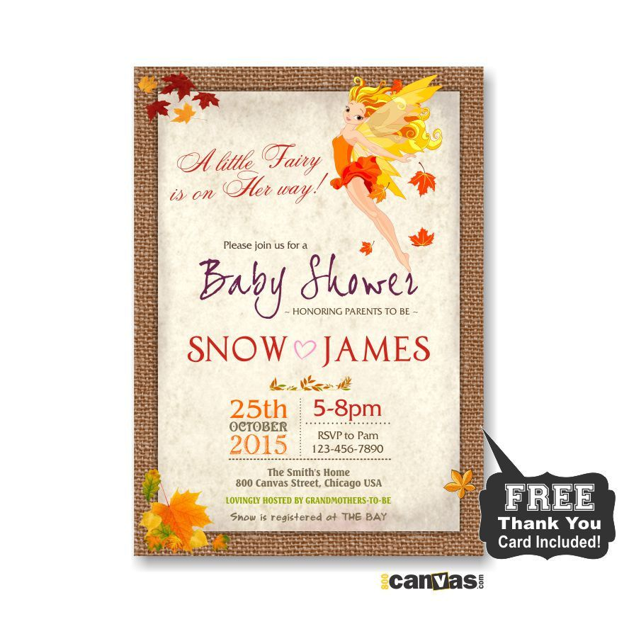 Fairy Baby Shower Invitation, Enchanted Fall Baby Shower, Autumn Co ...