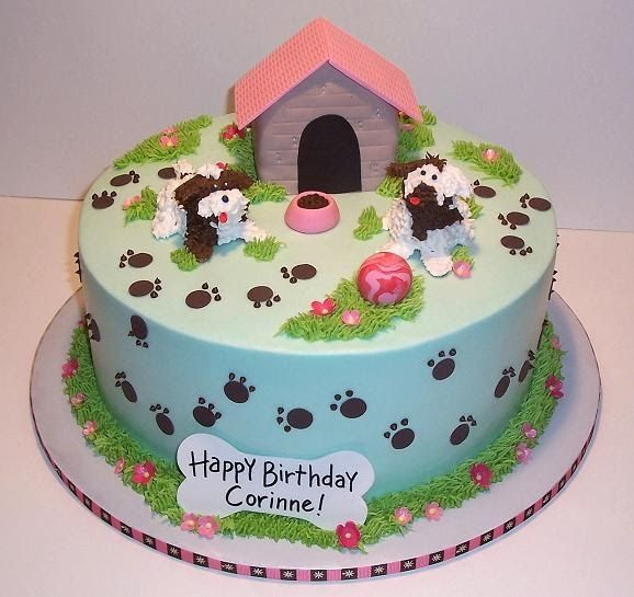 A birthday cake for a dog lover! Two cute, curly puppies ...
